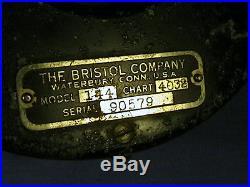 BRISTOL HUMIDIGRAPH MODEL 411 CHART 4032 RECORDER RANGE 30-70 WIND UP HANGING
