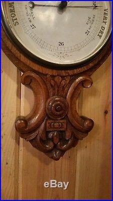 Beautiful Antique Oak Barometer
