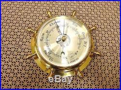 Bey-Berk Int'l Nautical Barometer Maritime Brass 9 Dia Ships Wheel Design