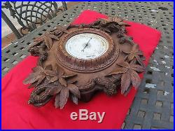 Black Forest Barometer Bourdon Tube 1800s Antique 1851 French Victorian, Carving