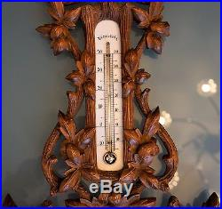 Black Forest walnut wall barometer / thermometer with bird