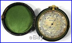 British Pocket Compensated Barometer Antique with Leather Case Peoria Malleable Co