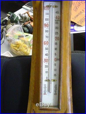 C1840-60 Antique Barometer & Thermometer Detailed Porcelane Dials Carved Oak