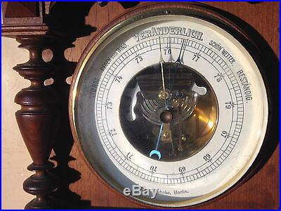C1890 HEAVILY CARVED GERMAN BAROMETER HIGH GRADE BEVEL GLASS EXCELLENT NO RESERV
