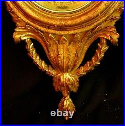 CARVED & GILDED BAROMETER ITALIAN FRENCH BOW HAND CARVED c. 1950'S