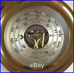 CHELSEA SHIP'S BELL 4 1/2 BRASS BAROMETER on WOODEN STAND