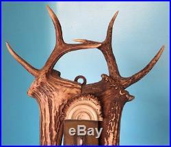 C. 1880 Antique Stag Antler Barometer Thermometer Hunt Carved Antler Rosette Deer