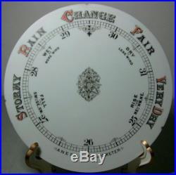 C. 1880 Fancy 8 Milkglass Aneroid Barometer Dial
