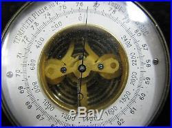 C. 1890 French Pocket Openface Altimeter Barometer Original Beveled Domed Crystal