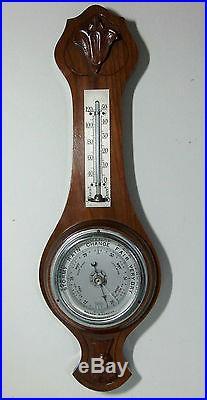 C. 1920 British Aneroid Barometer by Torwin Walnut Case