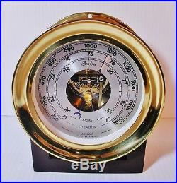 Chelsea Clock Company Boston Gleaming Brass Barometer 1984