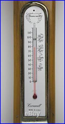 Cornwall Weather Station Maple Wood 35 Banjo Type Wall Barometer Thermometer NR