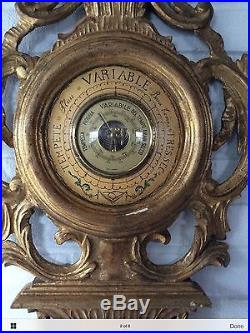 Exquisite Vintage Barometer Carved Wood Gilded Made In Italty Antique