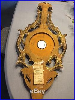 Exquisite Vintage Barometer Carved Wood Gilded Made In Italy Antique
