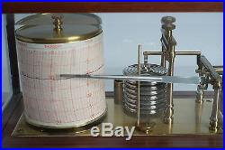 (E) Superb Antique Vintage Mahogany Barograph by Gluck Co. Barometer Thermograph