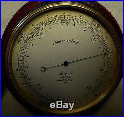 Early J. Hicks Pocket Barometer Compensated #258 Used By 19th C Balloonists