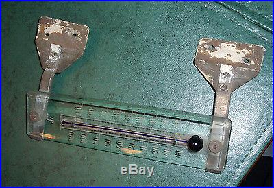 Early etched glass house thermometer with original copper mounts VINTAGE OLD