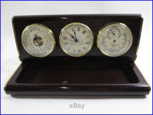 Elegant Vintage Nobilis France Barometer Hygrometer Clock Steampunk Humidor (K)