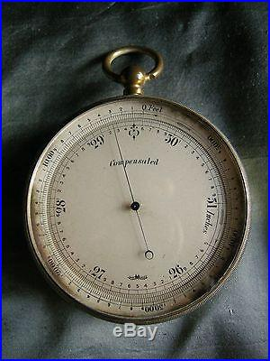 English Short & Mason (London) Brass Cased Pocket Aneroid Barometer c. 1910