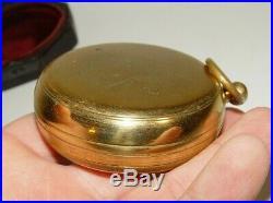 Estate Antique Brass Andrew Lloyd London Pocket Compensated Barometer With Case #5