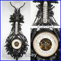 Exceptional 19th C. Antique Black Forest Barometer, Stag, Carved Dog and Fox