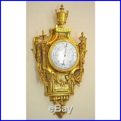 Exceptional & Fine 19th C. French Bronze Louis XVI style Barometer Rams Heads