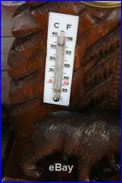 Exclusive Swiss BLACK forest wood carved Bear Barometer circa 1920