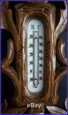FRENCH CARVED WOOD BLACK FOREST BAROMETER THERMOMETER
