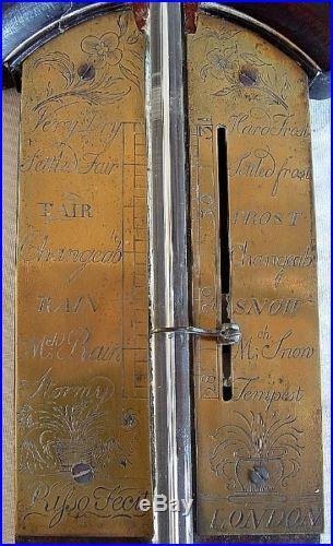 Fine London English Mahogany & Brass Stick Barometer circa 1850