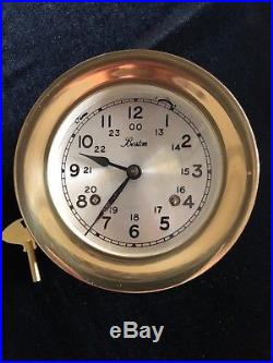 Fine VINTAGE BOSTON CHELSEA CLOCK SHIP'S BELL Chime! Serviced