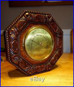 Fine Victorian Antique English c1910 Carved Oak Aneroid Wall Barometer 12