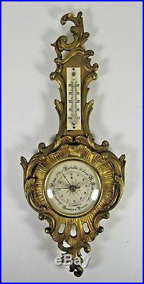 French Bronze Barometer Antique Gilt Wall Hanging Thermometer Rococo Ornate
