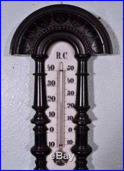 French Second Empire Barometer Thermometer Napoleon III Ebony Carved Wood