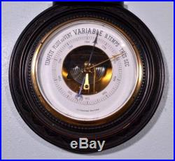 French Second Empire Barometer Thermometer Napoleon III Ebony Carved Wood (K)