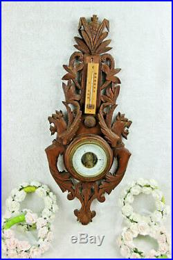 French wood carved black forest design dragons gothic barometer 1960