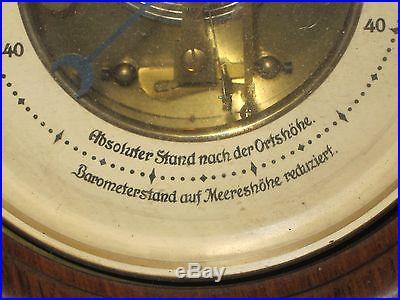 GERMAN BAROMETER CARVED WOOD WALL MOUNT BRASS ABSOLUTER STAND NACH DER ORTSHOHE