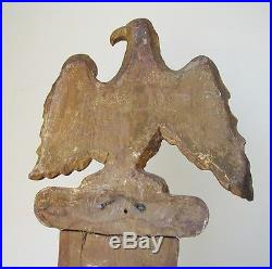 GORGEOUS ANTIQUE GILTWOOD BAROMETER CASE WITH CARVED EAGLE & FRENCH RIBBONS
