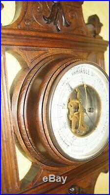 Genuine antique French barometer in wood metal brass glass with beveled edges us