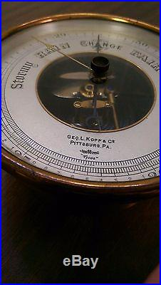 Geo L Kopp and Co Barometer Antique Rare Vintage Weather Pittsburg Pittsburgh