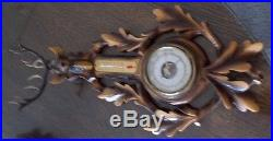 German Antique Sturmisch Regen Veranderlich Schon S. Trocken Elk Barometer N/R