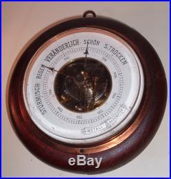 German Antique Sturmisch Regen Veranderlich Schon S. Trocken Round Barometer