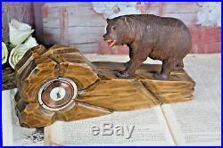 Gorgeous BLACK FOREST wood carved bear barometer rare model Germany 1900