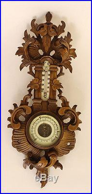 Gorgeous German black forest style Wood carved Barometer circa1935 leaves