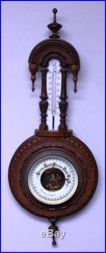 Gothic Antique Los Angeles California Carved Wood & Glass Adolf Frese Barometer