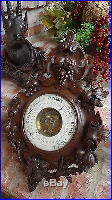 HUGE Antique French Carved Oak BLACK FOREST BAROMETER w Grapes Wine Room