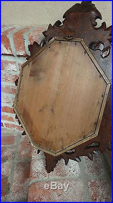 HUGE Antique French Carved Oak BLACK FOREST BAROMETER w Grapes Wine Wall Hanging