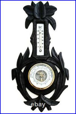 Hand Carved Black Forest German Wall Weather Station Thermostat Barometer
