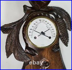Hand-carved wooden barometer thermometer Black Forest Excellent Condition