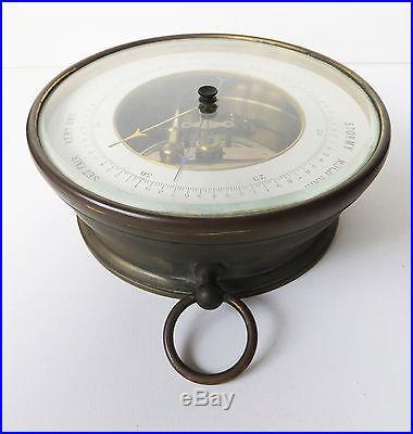 Handsome Antique Aneroid Barometer, Brass Case
