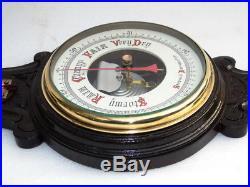 Huge 33' Carved Antique Circa 1890 Philadelphia Thermometer & Aneroid Barometer